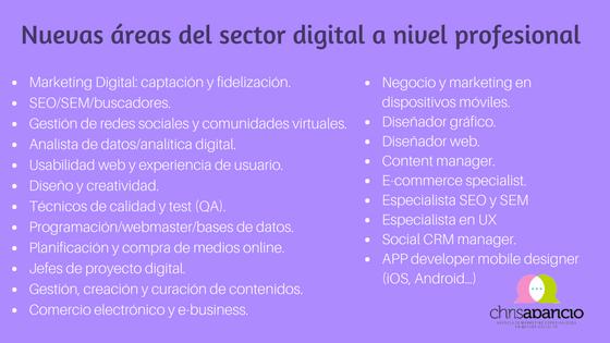 Nuevas áreas del sector digital a nivel profesional. Chris Aparicio